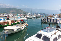Boats for Russian tourists at the pier in Budva, Montenegro Stock Photography