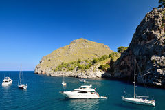 Boats in Sa Calobra Royalty Free Stock Photo