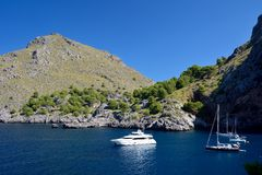 Boats in Sa Calobra Stock Images