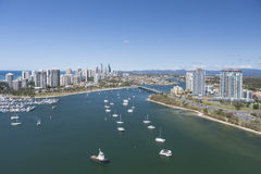 Boats sailing the bay in Surfers Paradise Royalty Free Stock Images