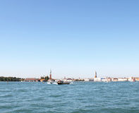 Boats sailing in the Gulf of Venice Italy 13. Boat in the Gulf of Venice Royalty Free Stock Photography