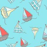 Boats sailing in the ocean. Illustrations vector illustration