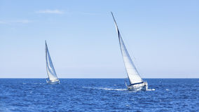 Boats in sailing regatta. Competition. Royalty Free Stock Image
