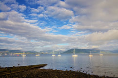 Boats sailing on the river Clyde Stock Image