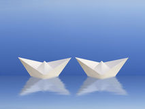 Boats sailing together Royalty Free Stock Image
