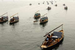 Boats sailing in one direction Royalty Free Stock Photography