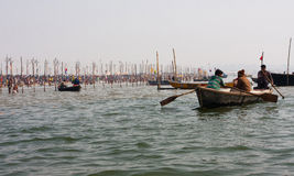 Boats sails in Sangam water Stock Photo