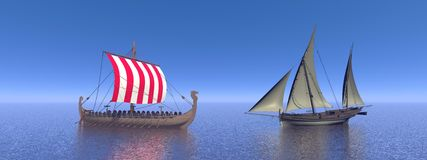 Boats with sails Royalty Free Stock Images