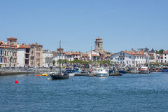 Boats in Saint-Jean de Luz - Ciboure harbour. Aquitaine, France. Stock Photo