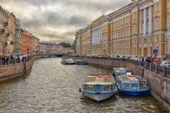 Boats in Saint-Petersburg Stock Photos