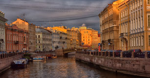 Boats in Saint-Petersburg Royalty Free Stock Photos