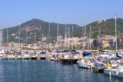 Boats in Salerno port Stock Image