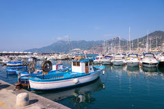 Boats in Salerno port Stock Photos