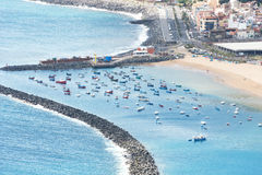 Boats San Andres and Teresitas beach on Tenerife Spain Stock Photography