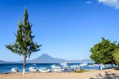 Boats & San Pedro volcano, Lake Atitlan, Guatemala Royalty Free Stock Images