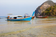 Boats On Sand Beach. Boats On Beautiful Tropical Sand Beach Stock Photography