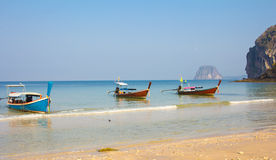 Boats On Sand Beach. Boats On Beautiful Tropical Sand Beach Royalty Free Stock Photo