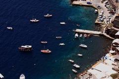 Boats in Santorini harbor Royalty Free Stock Photo