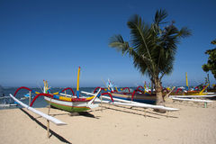 Boats on Sanur Beach, Bali Stock Image