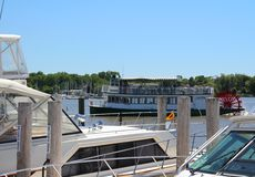 Boats in Saugatuck, Michigan Harbor Royalty Free Stock Photo