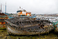 Boats on a scrapyard Royalty Free Stock Photography