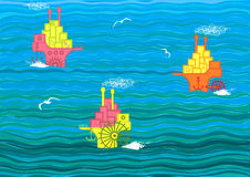 Boats on the sea. Boats carry freight on the sea. Vector illustration Stock Image