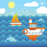 Boats in the sea. Cartoon style seascape with yacht, boat and dolphins Stock Images