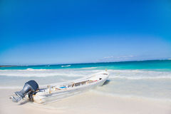 Boats in the sea. Old boats waiting for passengers sailing in Caribbean sea in Mexico Royalty Free Stock Images