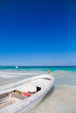 Boats in the sea. Old boats waiting for passengers sailing in Caribbean sea in Mexico Stock Photography