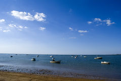 Boats at the sea. Fishing boats waiting to be used at the next morning Royalty Free Stock Photography
