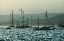 Boats on sea. Sailing boats on Mediterranean sea, France, Cote d'Azure Stock Photo