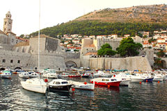 Boats in the sea. The boats in Adriatic Sea near Dubrovnik in Croatia (the place of Kings Landing from Games of Thrones Royalty Free Stock Image