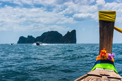 Boats at sea against the rocks in Thailand Royalty Free Stock Photography