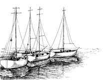 Boats on sea. Artistic drawing Stock Photography