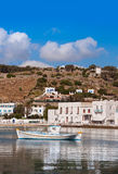 Boats in the sea bay near the town of Mykonos in Greece against Stock Photo