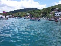 Boats at the sea, botes en al mar. Boats at the sea.botes en el mar en honor a la virgen del valle Royalty Free Stock Image