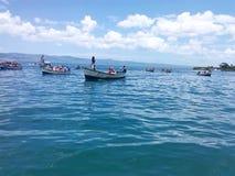 Boats at sea,botes en el mar. Tradicion en honor a la virgen del valle Royalty Free Stock Photo