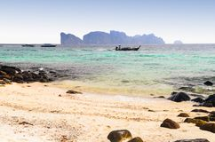 Boats, sea and cliffs Stock Images