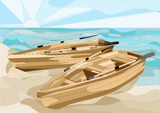 Boats at sea. Boats at coast of the sea on a sand Stock Images