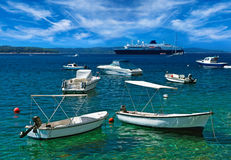 Boats at sea harbor. Hvar island, Croatia Royalty Free Stock Photography