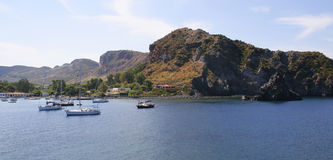 Boats on a sea, Lipari Islands Royalty Free Stock Photography