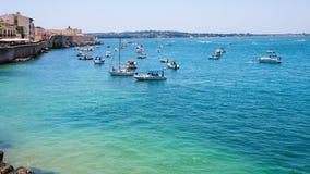 Boats in sea near promenade foro italico Royalty Free Stock Photography