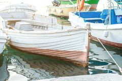 Boats are at sea at the pier royalty free stock photography