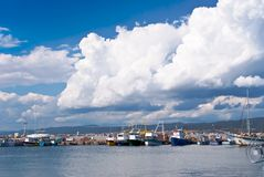 Boats on sea port in summer Stock Image