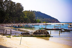 Boats in sea on the sky background, Koh Phangan Royalty Free Stock Photo