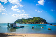Boats in sea on the sky background, Koh Phangan Royalty Free Stock Image