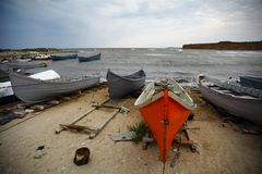 Boats by the sea Stock Image