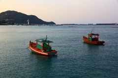 Boats on the sea. Boats on the sea when twilight time royalty free stock photos