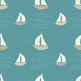 Boats on sea waves Royalty Free Stock Image
