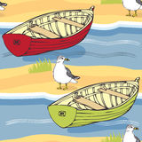 Boats and seagulls background Royalty Free Stock Photo